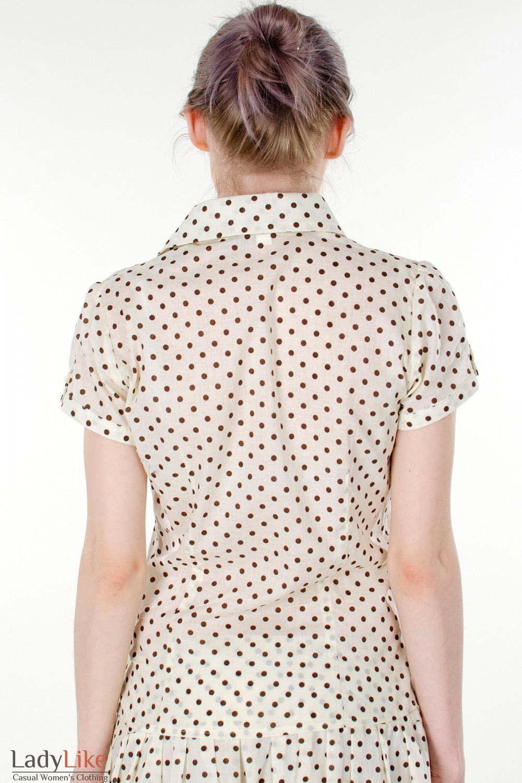 Фото Блузка в мелкий коричневый горошек вид сзади Деловая женская одежда