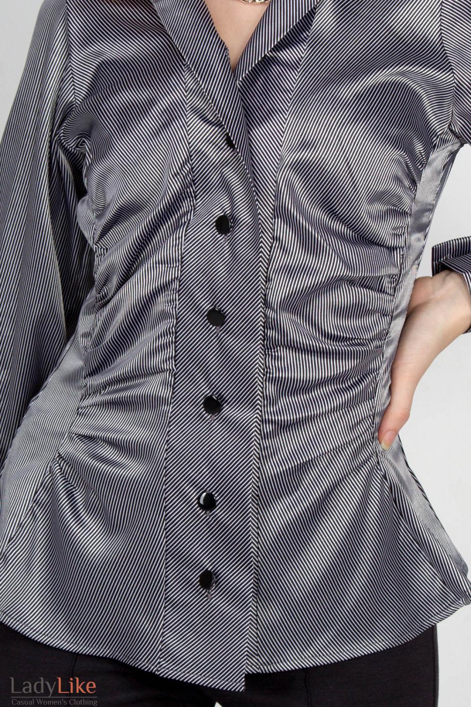 Фото Блузка в полоску серебро. Вид спереди Деловая женская одежда
