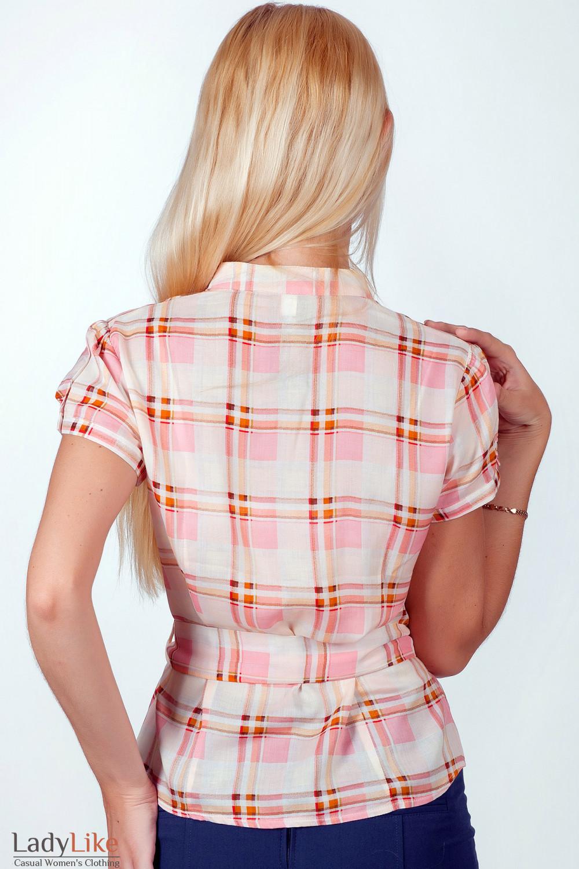 Фото Блузка в розово-оранжевую клетку вид сзади Деловая женская одежда