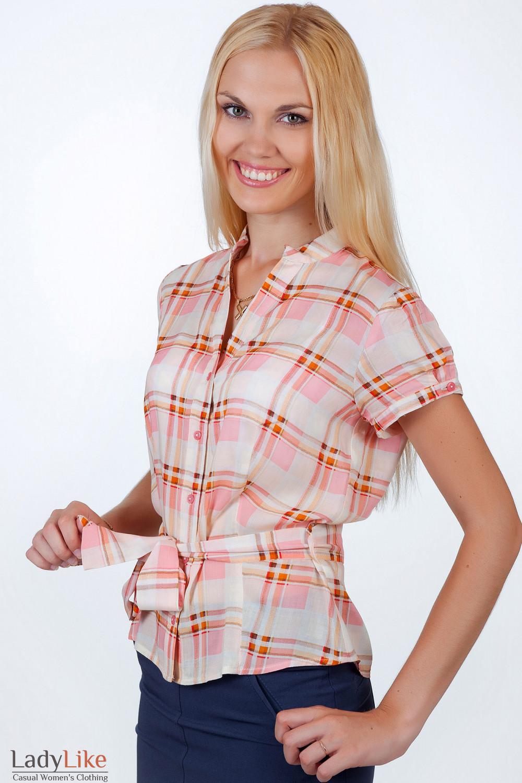 Фото Блузка в розово-оранжевую клетку вид спереди Деловая женская одежда