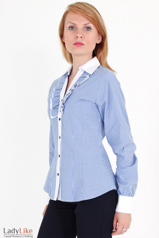 Фото Блузка в синюю клетку с рюшами вид сбоку Деловая женская одежда