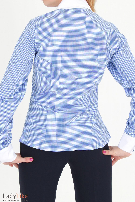 Фото Блузка в синюю клетку с рюшами вид сзади Деловая женская одежда