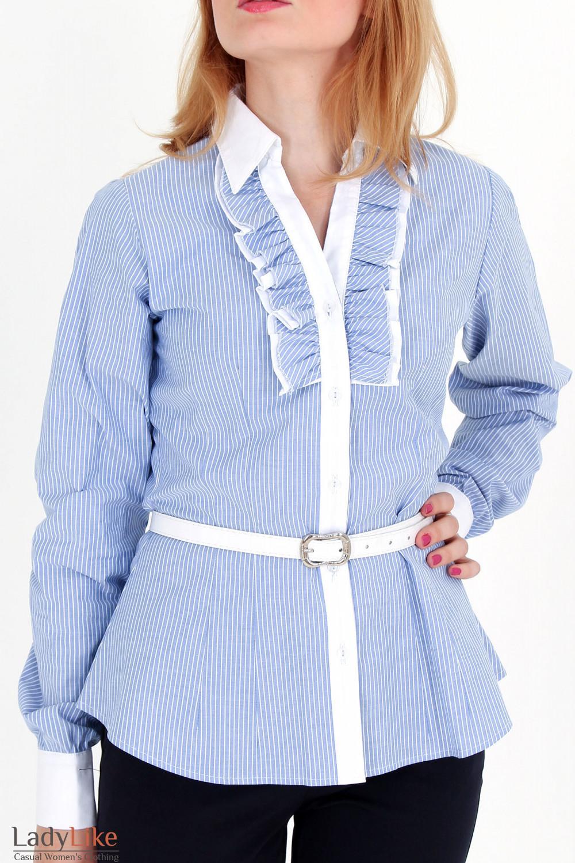 Фото Блузка в синюю полоску с рюшами Деловая женская одежда