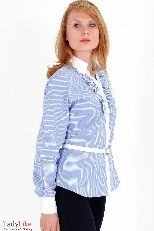 Фото Блузка в синюю полоску с рюшами вид сбоку Деловая женская одежда