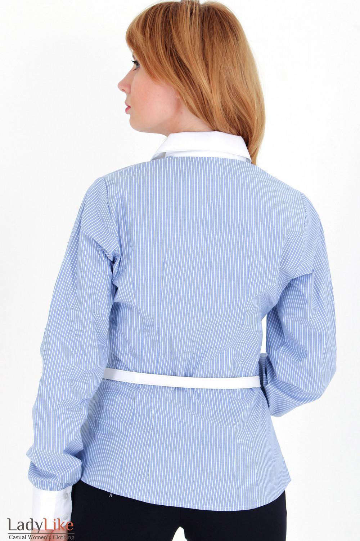 Фото Блузка в синюю полоску с рюшами вид сзади Деловая женская одежда