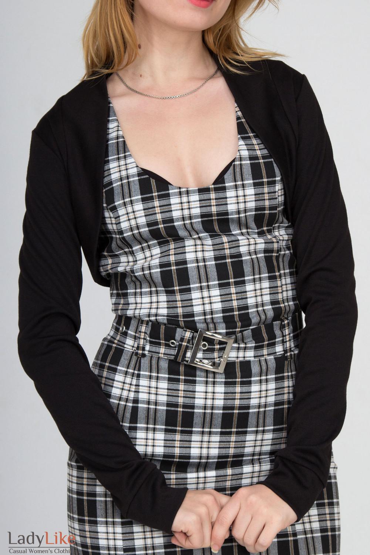Фото Болеро черное с длинным рукавом Деловая женская одежда