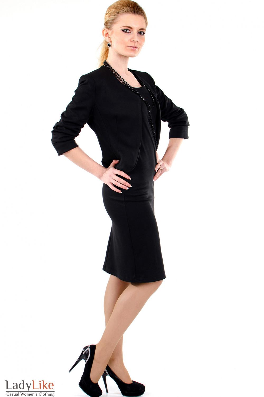 Фото Болеро черное трикотажное вид справа Деловая женская одежда