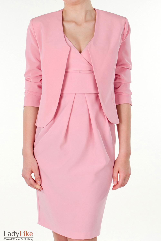 Фото Болеро розовое вид спереди Деловая женская одежда