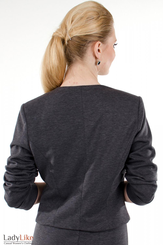 Фото Болеро серое трикотажное вид сзади Деловая женская одежда