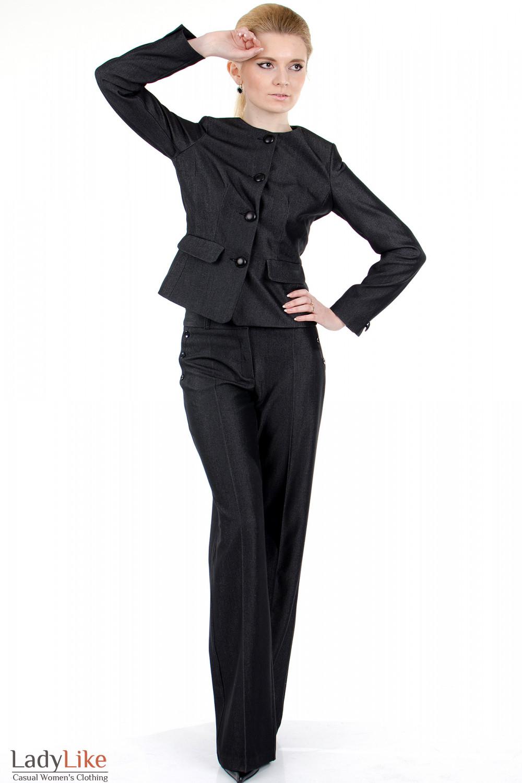 Фото Брюки ченые с высокой талией вид спереди Деловая женская одежда
