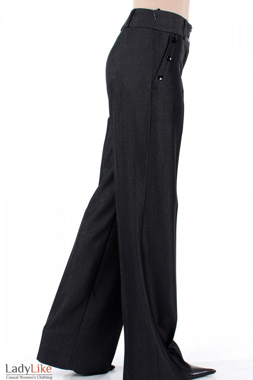 Фото Брюки ченые с высокой талией вид справа Деловая женская одежда