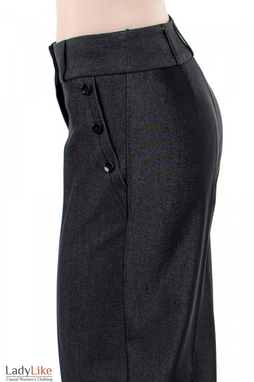 Фото Брюки ченые с высокой талией вид карманов Деловая женская одежда