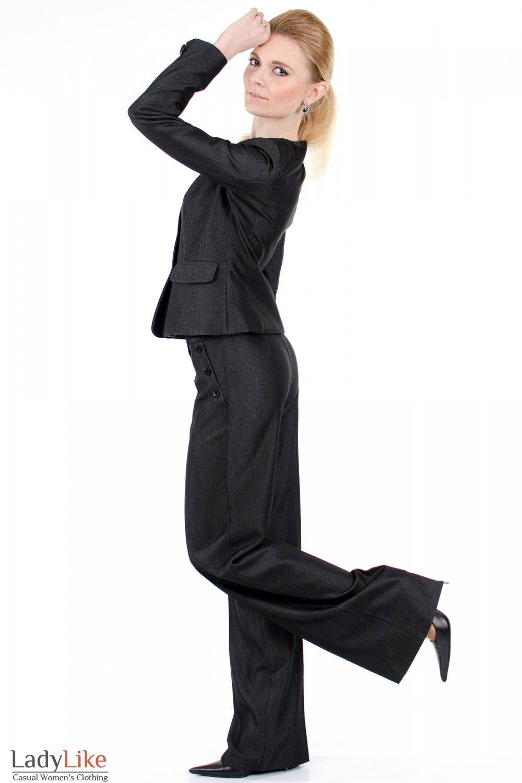Фото Брюки ченые с высокой талией вид слева Деловая женская одежда