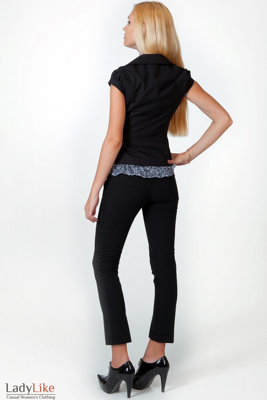 Фото Брюки черные с манжетой вид сзади Деловая женская одежда
