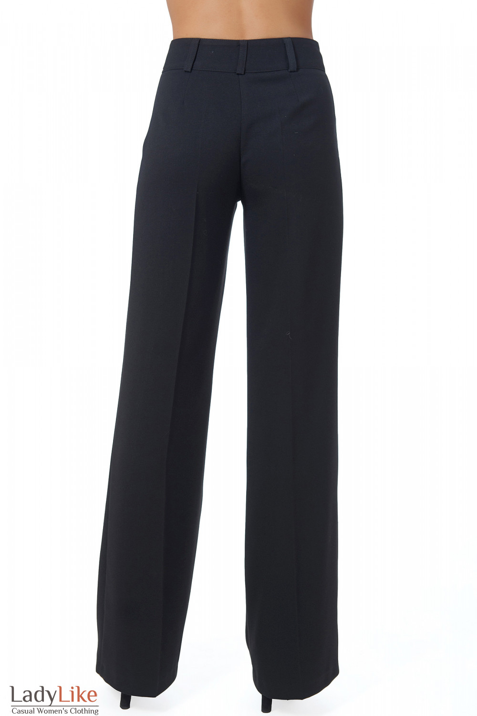 Фото Брюки черные теплые с завышенной талией вид сзади Деловая женская одежда