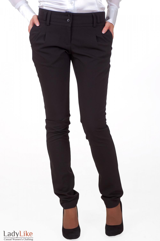 Фото Брюки черные зауженные с двойным поясом вид спередиДеловая женская одежда