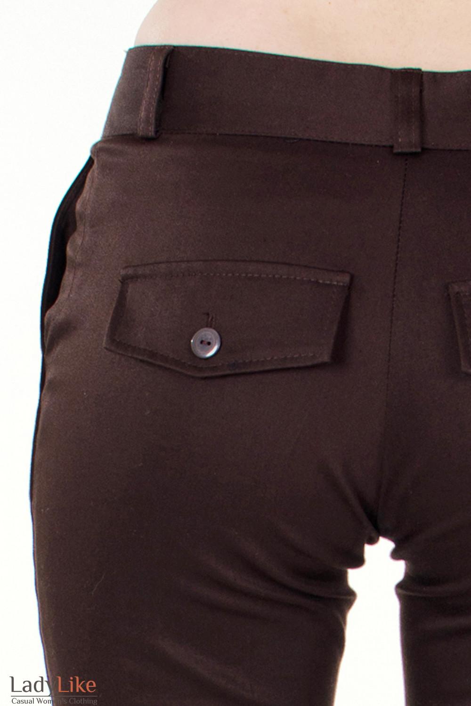 Фото Брюки коричневые Демо вид кармана Деловая женская одежда