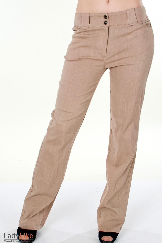 Фото Брюки коричневые льняные Деловая женская одежда