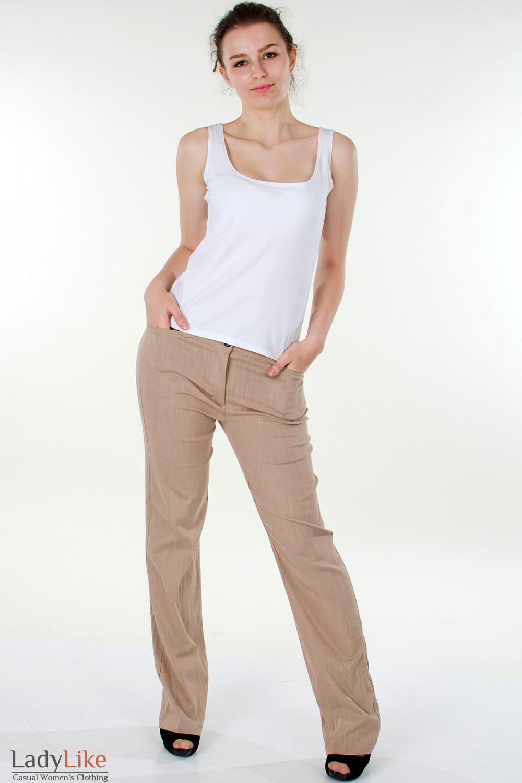 Фото Брюки коричневые льняные вид спереди Деловая женская одежда
