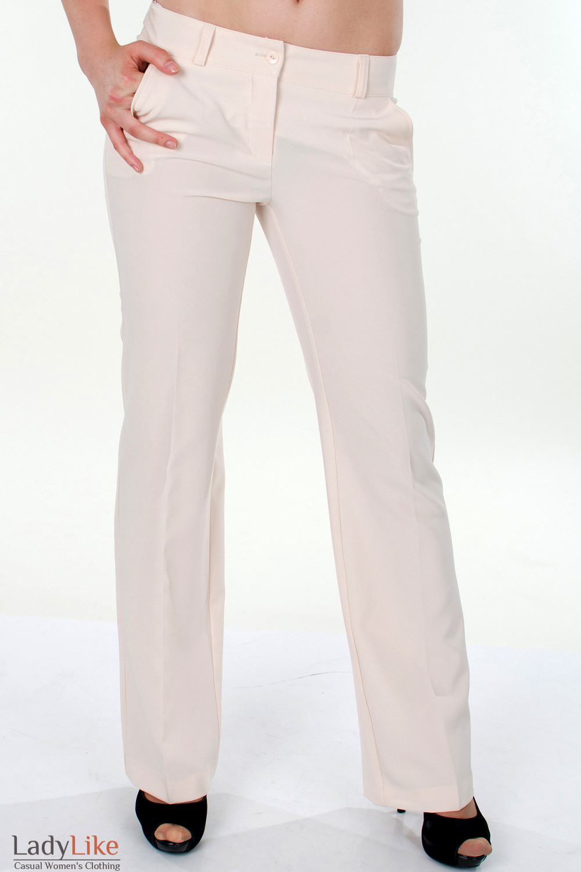 Фото Брюки кремовые классические вид спереди Деловая женская одежда