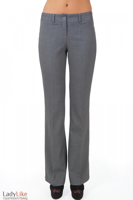 Фото Брюки серые теплые вид спереди Деловая женская одежда