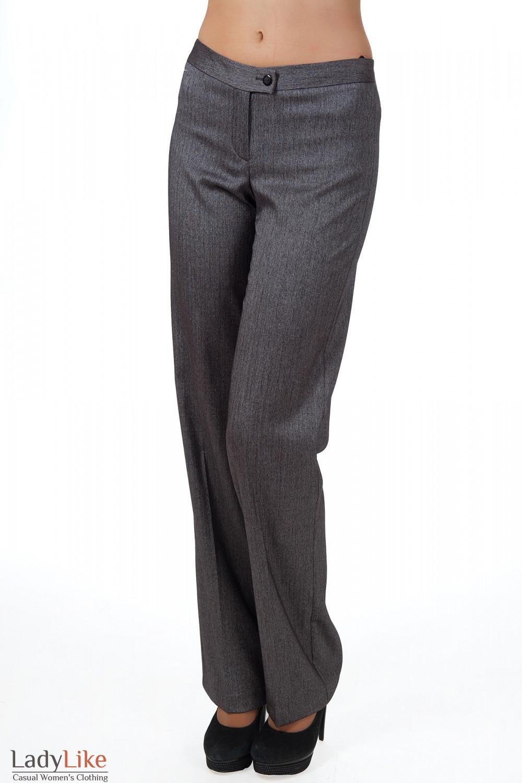 Фото Брюки серые в елочку вид спереди Деловая женская одежда