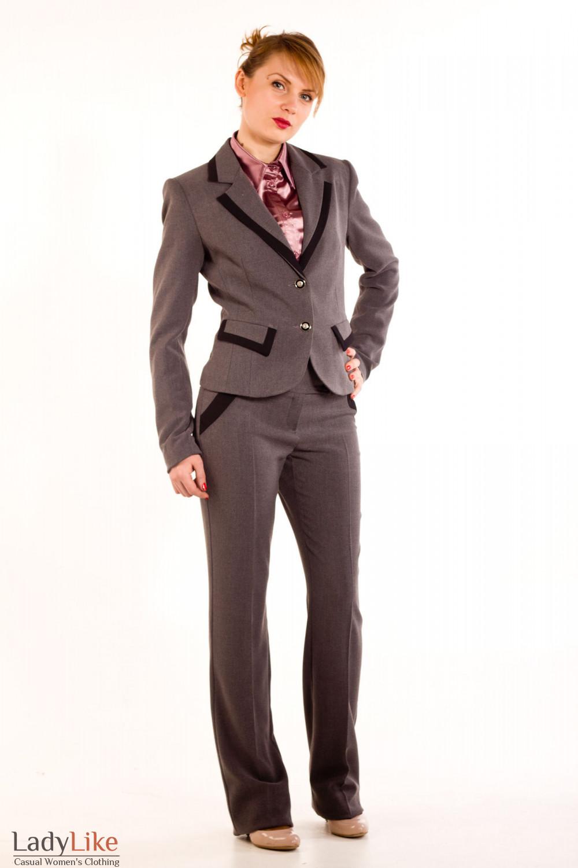 Фото Брюки теплые темно-серые. Вид спереди Деловая женская одежда