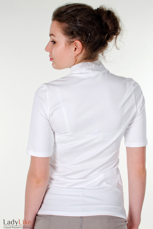Фото Гольф белый с коротким рукавом вид сзади Деловая женская одежда