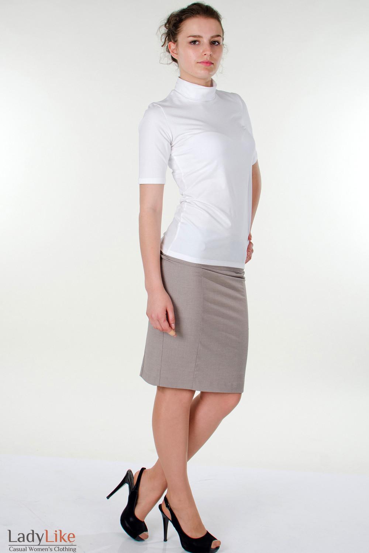 Фото Гольф белый с коротким рукавом вид справа Деловая женская одежда