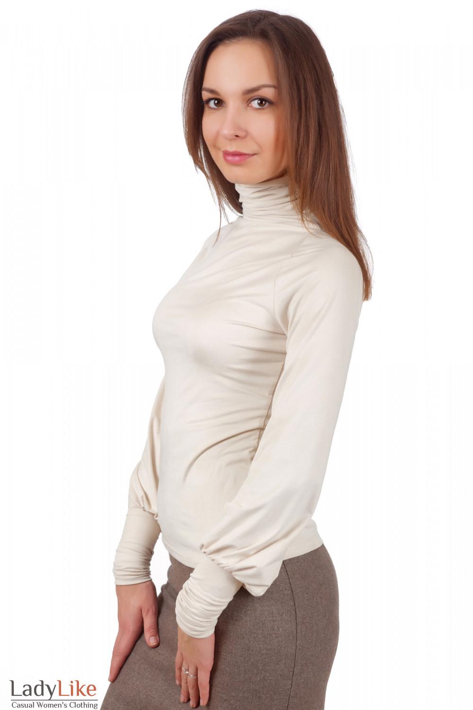 Фото Гольф молочный из спандекса вид сбоку Деловая женская одежда