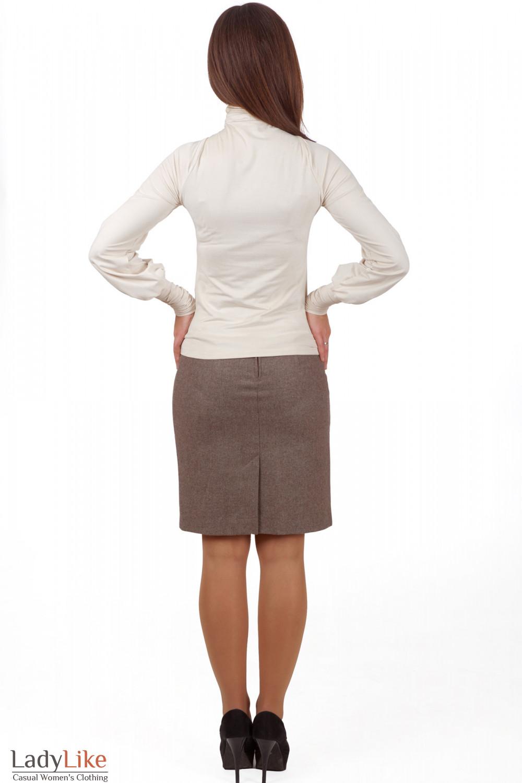 Фото Гольф молочный из спандекса вид сзади Деловая женская одежда