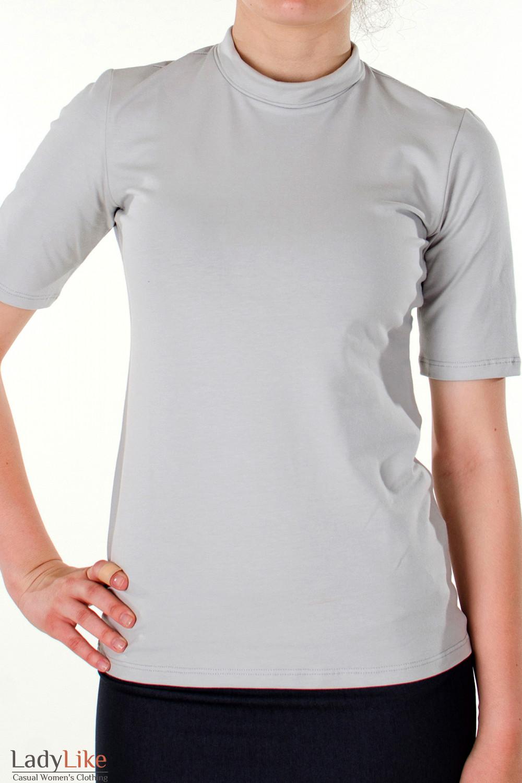 Фото Гольф светло-серый с коротким рукавом вид спереди Деловая женская одежда