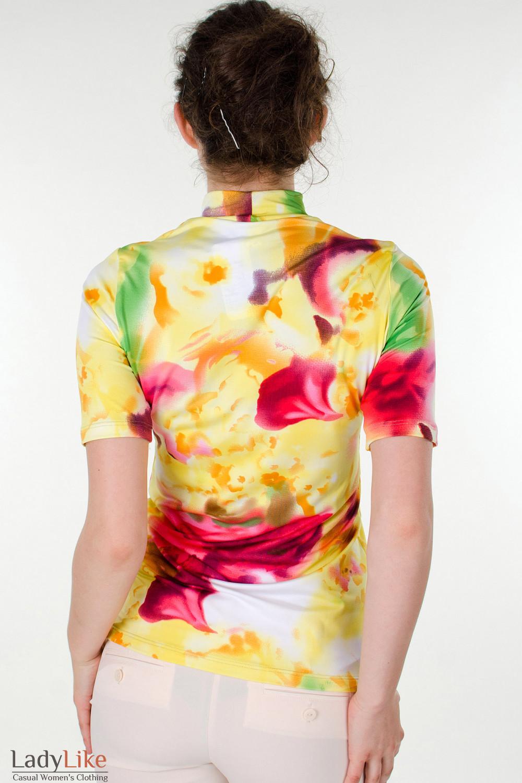 Фото Гольф в желто-красные цветы вид сзади Деловая женская одежда