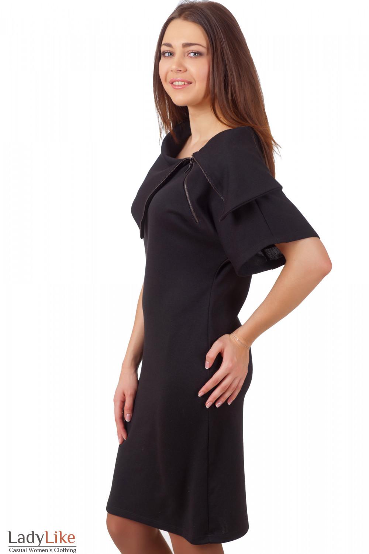 Фото Строгое деловое черное платье Деловая женская одежда