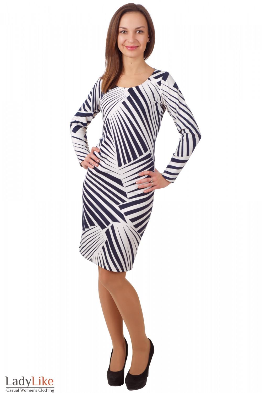Фото Платье трикотажное в синюю полоску Деловая женская одежда
