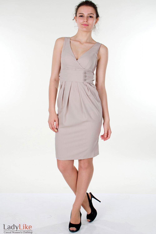 Фото Платье бежевое с поясом Деловая женская одежда