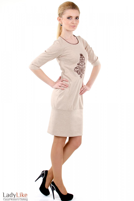 Фото 2 Платье бежевое с вышивкой Деловая женская одежда
