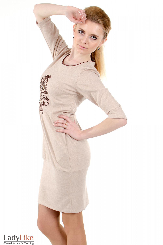 Фото 3 Платье бежевое с вышивкой Деловая женская одежда