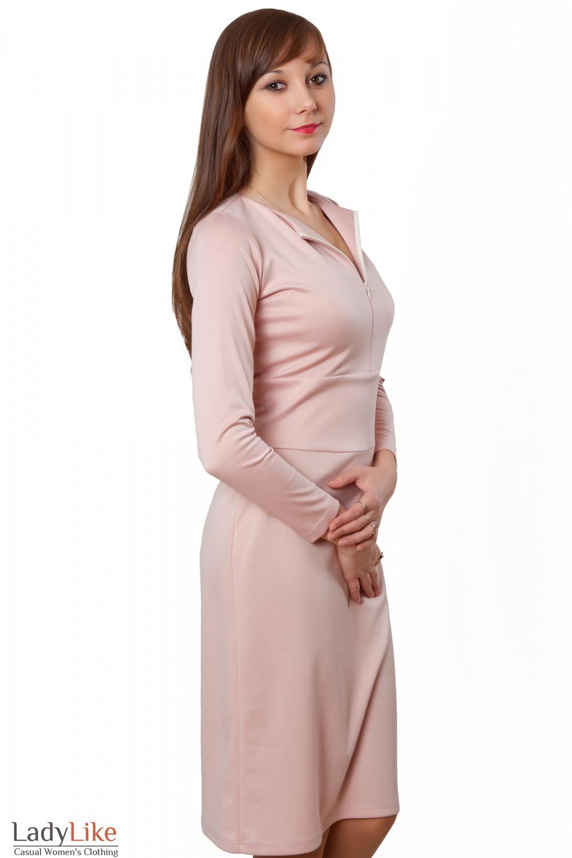 Купить трикотажное розовое платье с отрезной талией. Деловая женская одежда