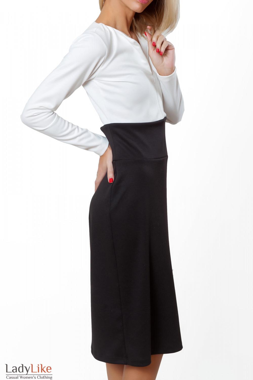 Купить платье трикотажное черно-белое. Деловая женская одежда