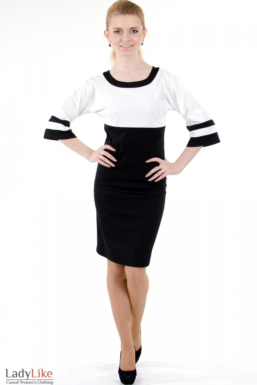Фото Платье черно-белое трикотажное Деловая женская одежда