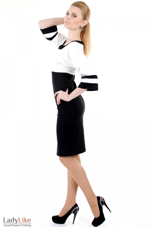 Фото Платье черно-белое трикотажное вид сбоку Деловая женская одежда