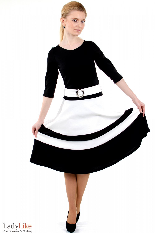 Фото Платье черное с пышной юбкой вид спереди Деловая женская одежда