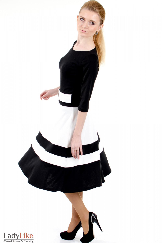 Фото Платье черное с пышной юбкой вид слева Деловая женская одежда