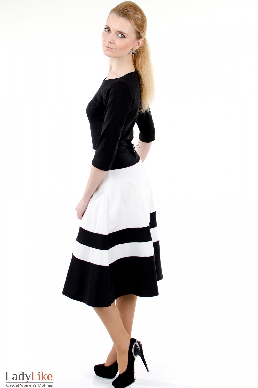 Фото Платье черное с пышной юбкой вид сбоку Деловая женская одежда