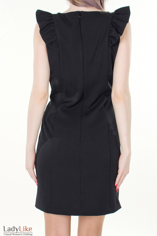 Фото Платье черное с рюшами вид сзади Деловая женская одежда