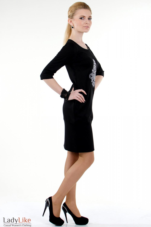 Фото Платье черное с вышивкой вид сбоку Деловая женская одежда