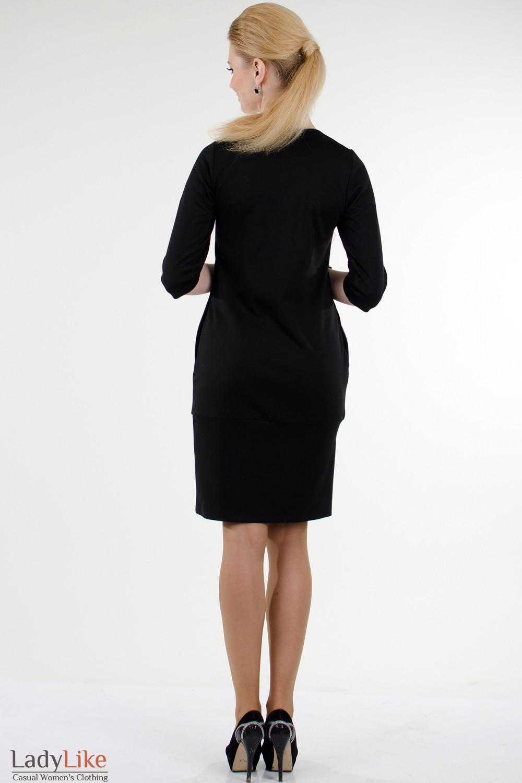 Фото Платье черное с вышивкой вид сзади Деловая женская одежда
