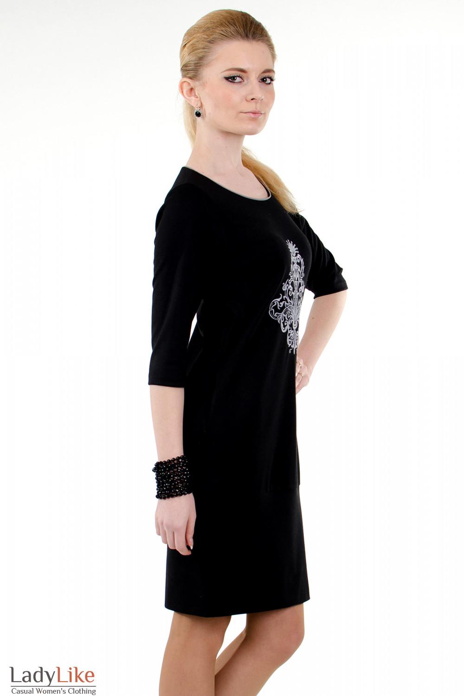 Фото Платье черное с вышивкой вид справа Деловая женская одежда