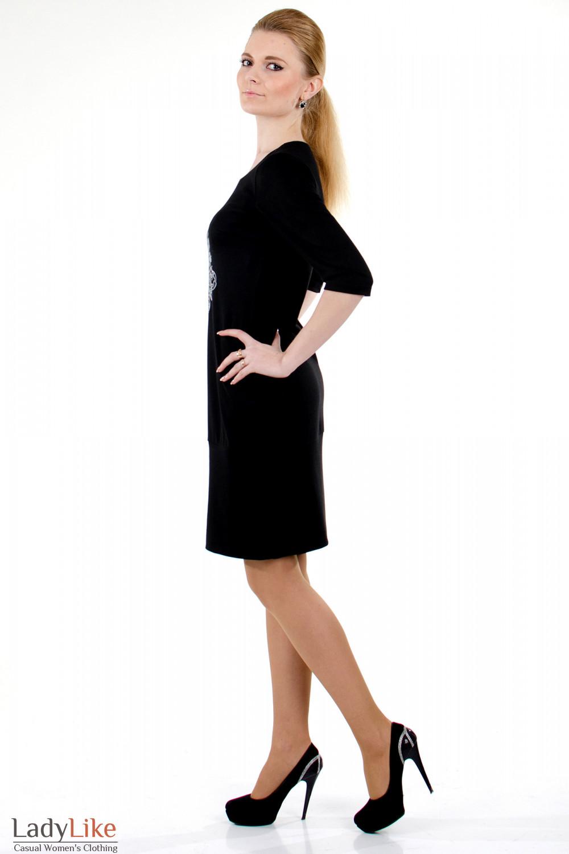 Фото Платье черное с вышивкой вид слева Деловая женская одежда